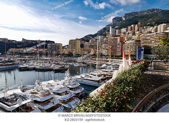 View over Port de Monaco, Montecarlo, the harbour of Monaco