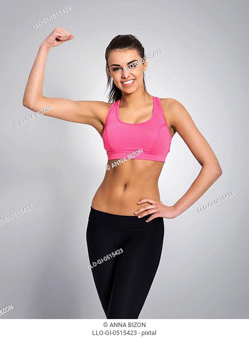 Portrait of sports smiling woman. Debica, Poland