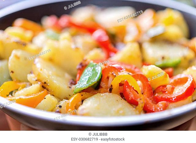 Top view image at farmers breakfast with assorted vegetable like paprika chili sugar snap potato pepper ideal for food blog