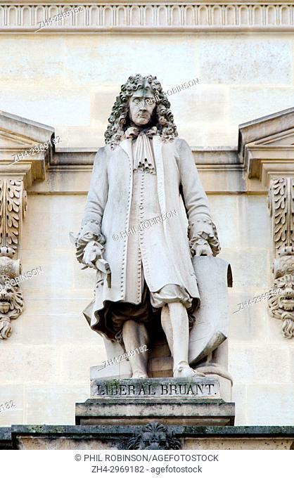 Paris, France. Palais du Louvre. Statue in the Cour Napoleon: Libéral Bruant ( or Bruand: c. 1635-1697) Architect, builder of the Hôtel des Invalides in Paris
