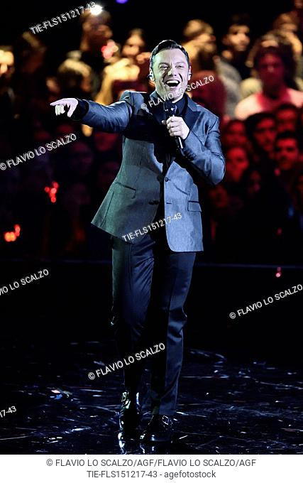 Guest star Tiziano Ferro during the performance at the talent show X Factor 2017, Milan, ITALY-14-12-2017