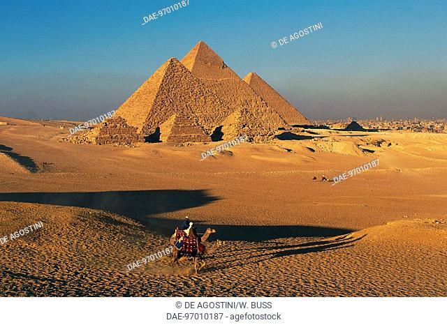 The Pyramids of Menkaure, Khafre and Khufu, Giza Necropolis (UNESCO World Heritage List, 1979), Egypt. Egyptian civilisation, Old Kingdom, Dynasty IV