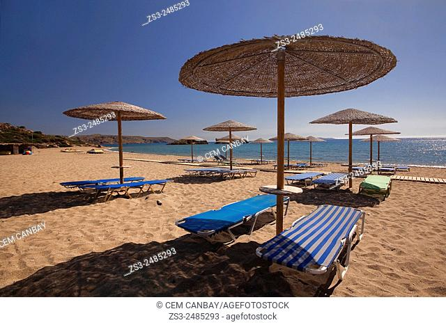Thatched umbrellas at the sandy Vai beach, Lasithi Region, Crete, Greek Islands, Greece, Europe