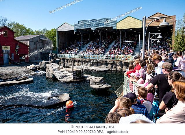19 April 2019, Lower Saxony, Hannover: Visitors crowd into Yukon Bay during the seal show at Hannover Zoo for a place with a good view of the pool