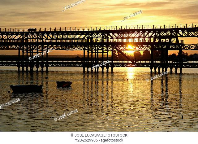 Mineral pier of Riotinto Company in the Odiel river at dusk, Huelva, Region of Andalusia, Spain, Europe