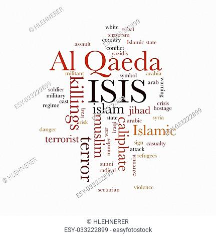 ISIS and Al Qaeda word cloud on white background