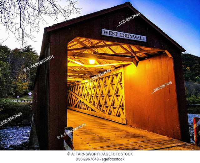 West Cornwall Ct, USA Historic covered bridge