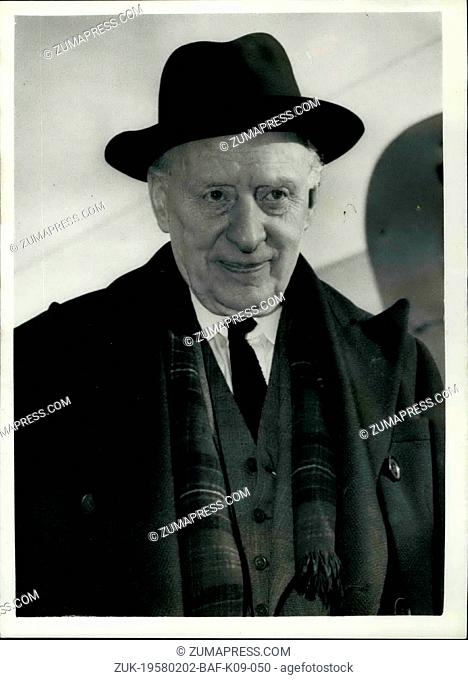Feb. 02, 1958 - Lord Moran flies to Sir Winston..Statesman ill at French Riviera Villa: Sir Winston Churchill's physician Lord Moran - left London Airport this...