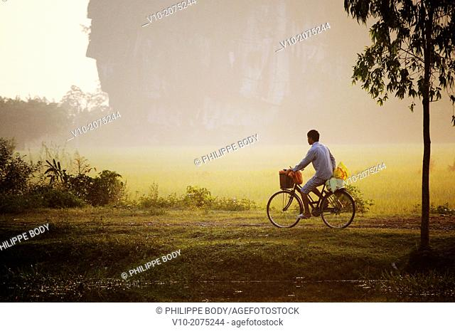 Vietnam, Ha Long bay on land, Tam Coc, farmer on his bicycle