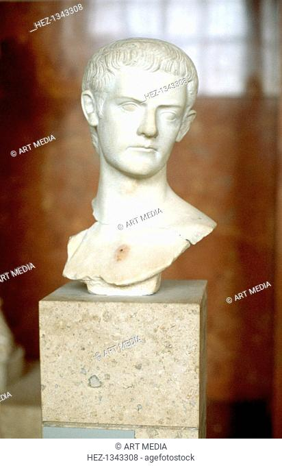 Marble bust of the Emperor Caligula. Caligula (12-41 AD) was the third Roman Emperor, ruling from 37 until he was assassinated in 41