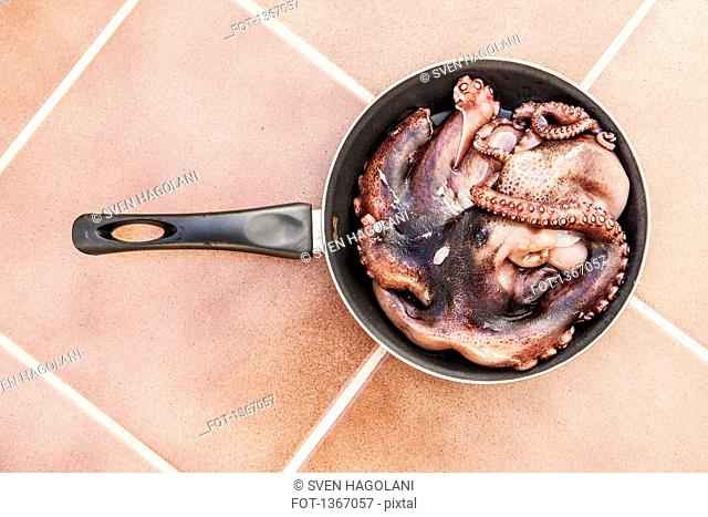 Directly above shot of octopus in frying pan on tiled floor