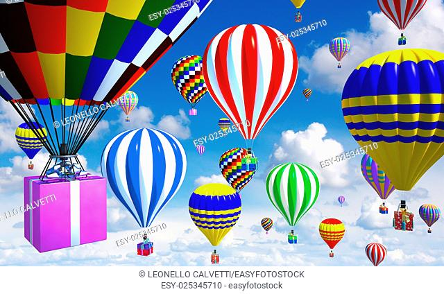 hot-air balloons in the sky, with gifts in place of the basket