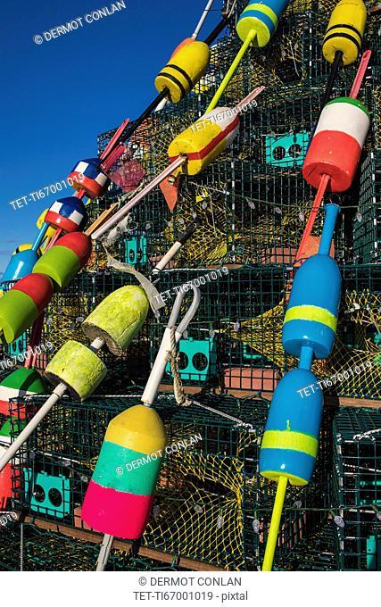 USA, Massachusetts, Plymouth, Colorful buoys