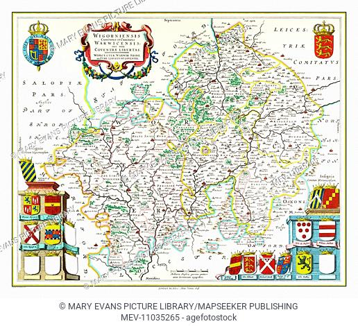 Map of Worcestershire and Warwickshire by Johan Blaeu
