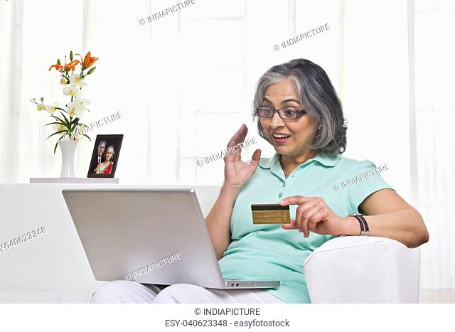 Adult woman working on a laptop