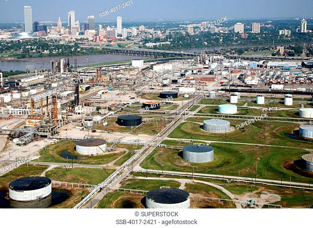 Aerial of Tulsa Oklahoma Downtown Skyline with Oil Refineries in the Foreground