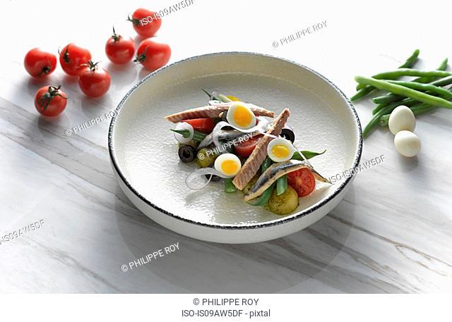High angle view of San Remo tuna and egg salad on shallow serving dish