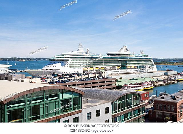 Royal Caribbean's Jewel of the Seas cruise ship in port at Portland, Maine