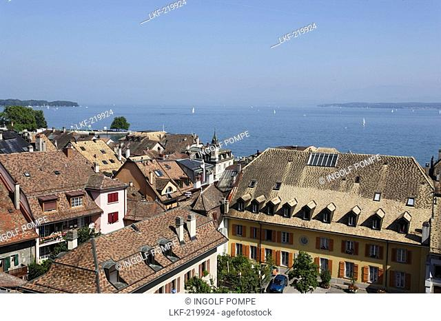 View over roofes of Nyon to lake Geneva, Nyon, Canton of Vaud, Switzerland