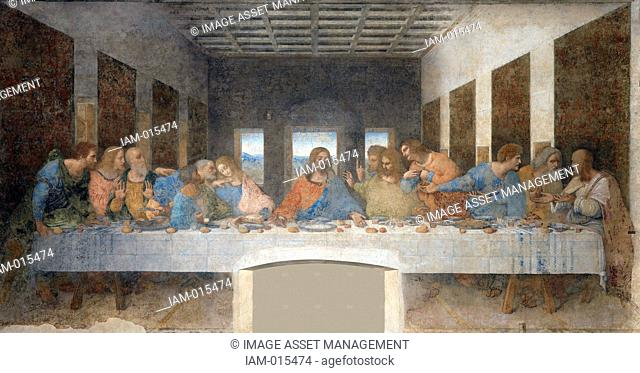 The Last Supper, 15th century mural painting in Milan created by Leonardo da Vinci for his patron Duke Ludovico Sforza and his duchess Beatrice d'Este