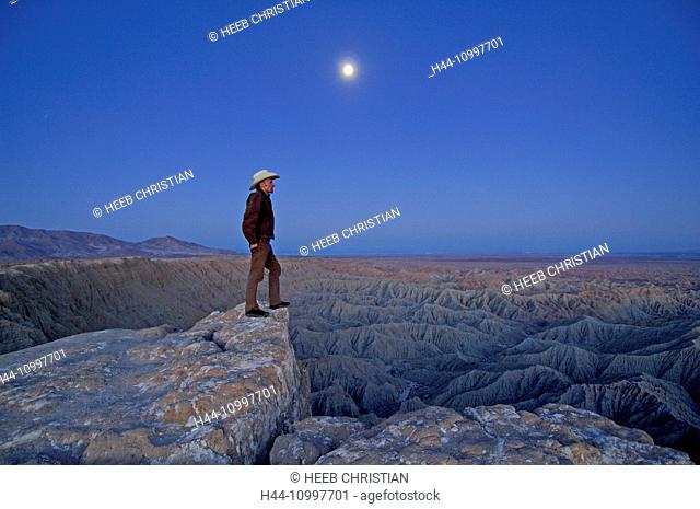 Person at Font's Point at dusk, Anza Borrego, Desert State Park, California, United States of America, MR