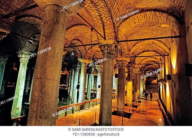 Columns inside one of many Byzantine cisterns underneath Istanbul, Turkey