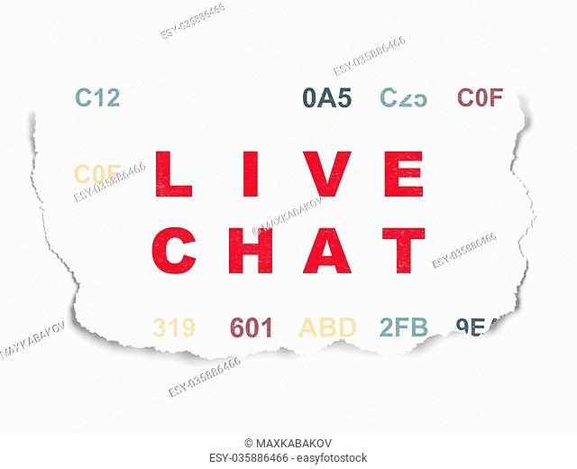 Web design concept: Live Chat on Torn Paper background