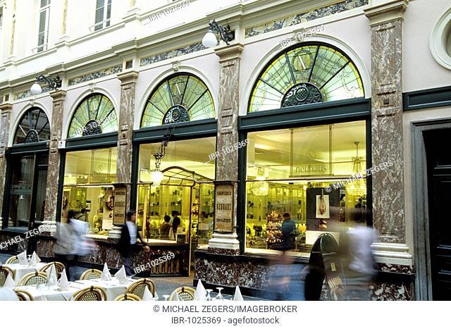Galeries Royales St. Hubert, St. Hubertus Galleries, Neuhaus Chocolaterie, facade, cafe with terrace, Galerie de la Reine, Ilot Sacre, Brussels, Belgium
