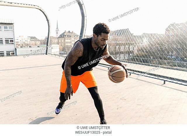 Basketball player in action on court