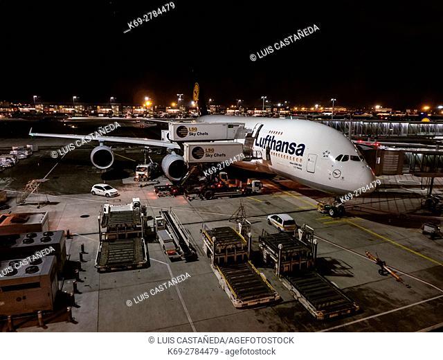 A380 at Frankfurt Intenational Airport. Germany