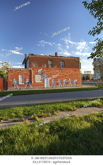 Detroit, Michigan - A mural on a building near the U. S. Ecology hazardous waste plant expresses neighborhood opposition to the facility