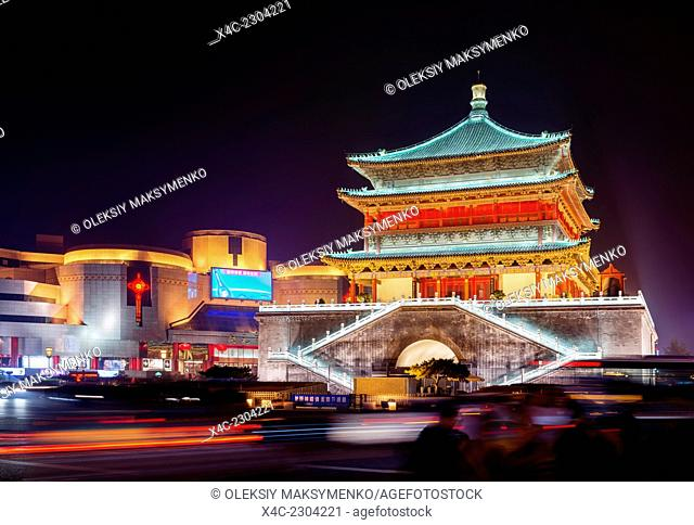 The Bell Tower at the city downtown, nighttime old city scenery, Xi'an, Shaanxi, China 2014