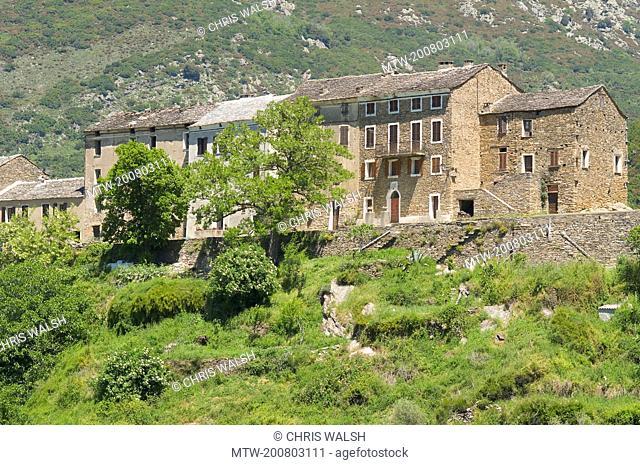 Old stone houses Corsica village mountain