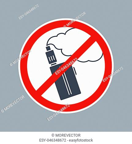 Prohibition sign no vape or e-cigarette inside of round. Vector flat simple red and black illustration on white background