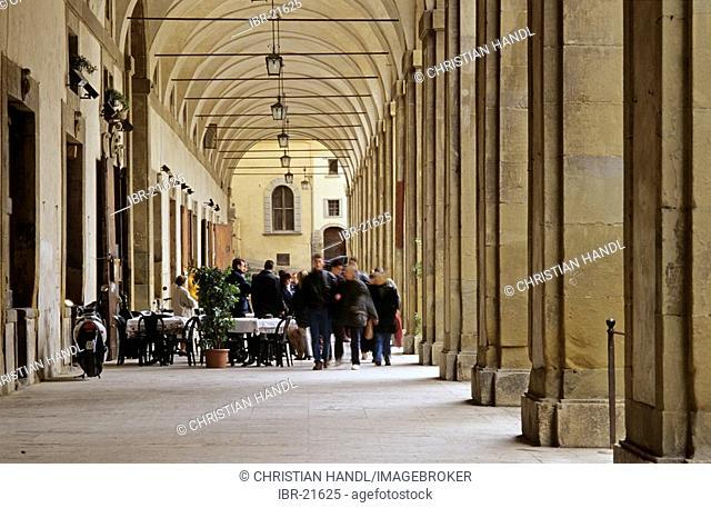Arcade called Loggia of Vasari in Arezzo Tuscany Italy