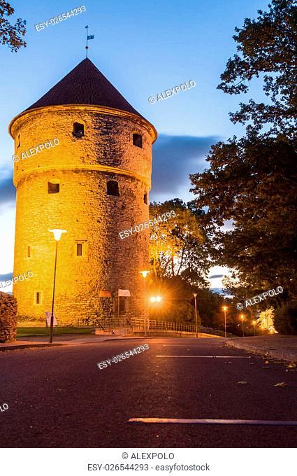 Kiek in de Kok, medieval fortification tower by night, Tallinn, Estonia