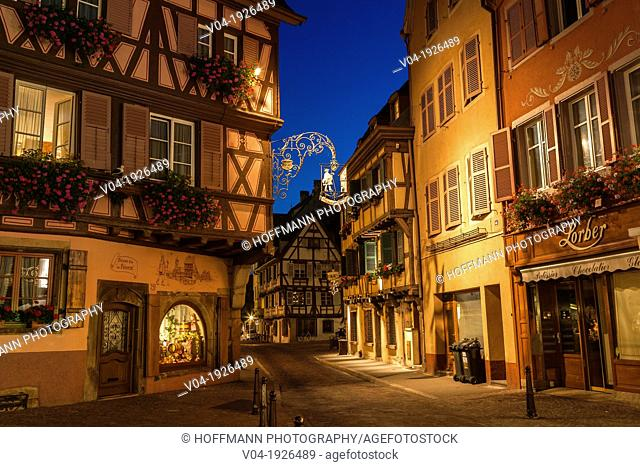 Picturesque timbered houses in Colmar at night, Alsace, France, Europe