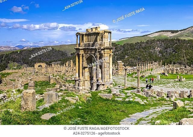 Algeria, Djemila City, Roman ruins of Djemila City, UNESCO, W. H. , Caracalla Arch