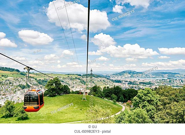Elevated view of cable car and landscape, Mount Pilatus, Switzerland