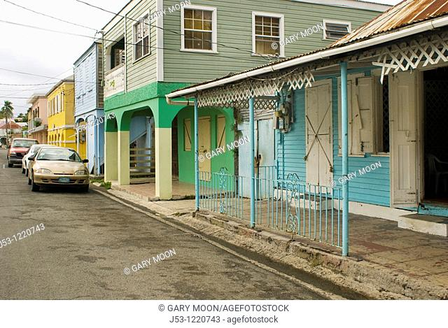 Business district, downtown Frederiksted, St Croix, US Virgin Islands