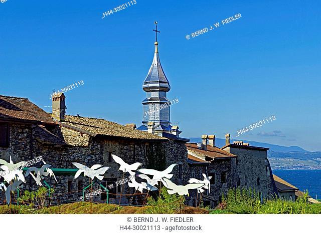 Häuser, alt, typisch, Kirchturm, Kirche, Eglise Saint-Pancrace, Genfer See