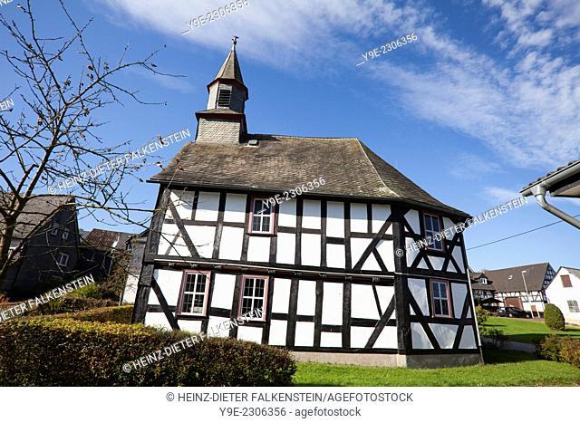 half-timbered church building, 1703, former school chapel, Sassenhausen, Bad Berleburg, Wittgensteiner Land district, North Rhine-Westphalia, Germany, Europe