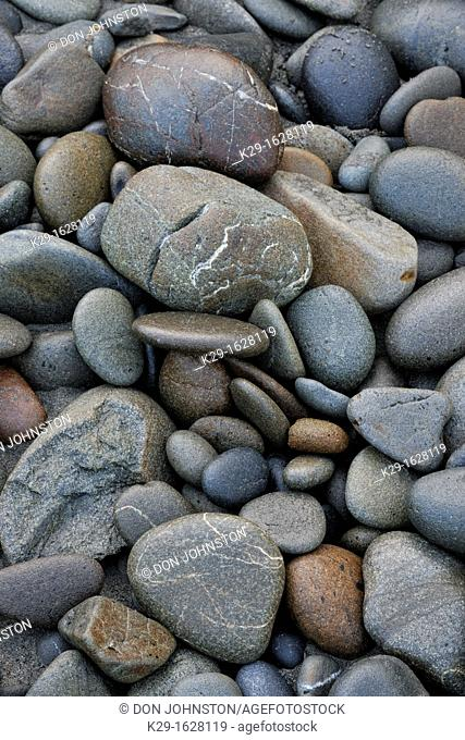 Beach pebbles on Ruby Beach at low tide Olympic NP, Washington