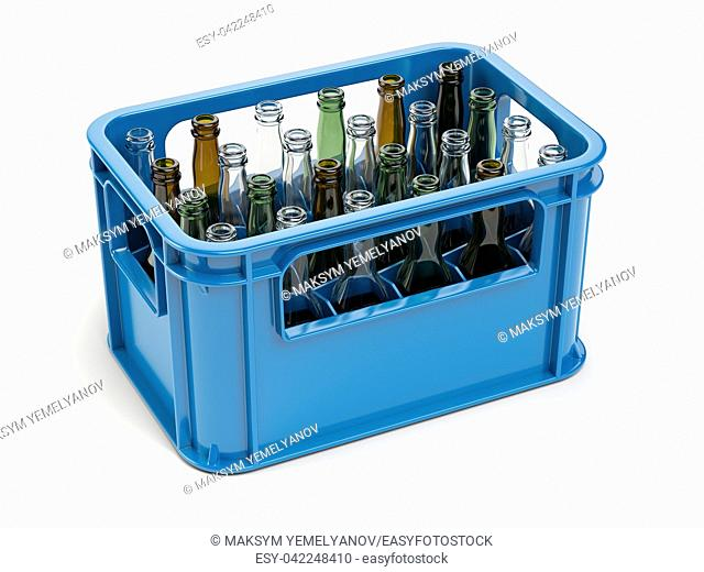 Empty bottles in the strage crate for bottles. Glass recycling concept. 3d illustration