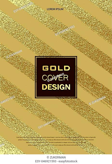 Gold, Glitter, Sparkles Design Pattern for Brochures, Invitation for New Year, Wedding, Birthday, Flyers, Logo, Banners. Abstract Modern Backgrounds Patina...