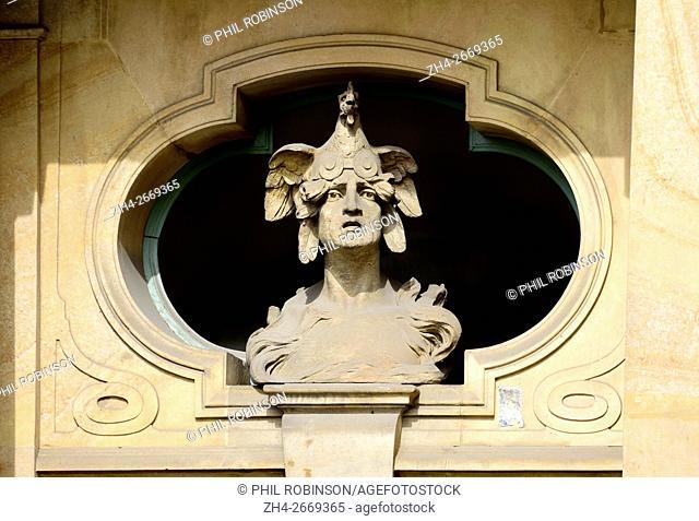 Prague, Czech Republic. Staromestske namesti / Old Town Square no. 932/6. Neo-Baroque / Art Nouveau building (1909: Osvald Polivka) Art Nouveau Facade detail