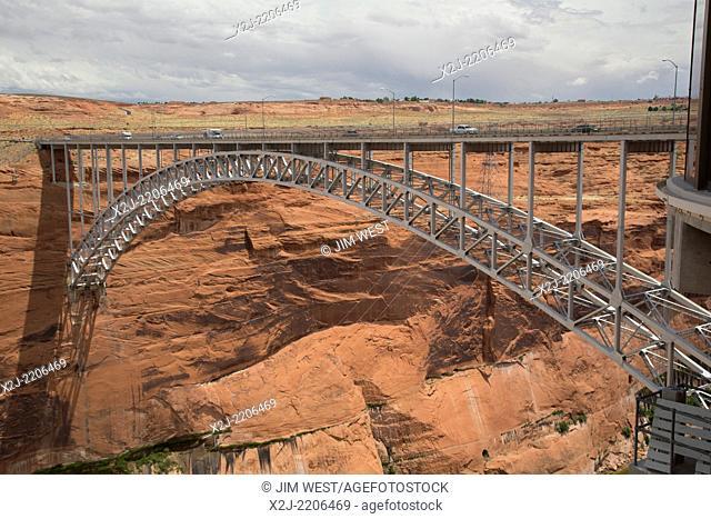 Page, Arizona - The Glen Canyon Dam Bridge carries traffic on US 89, just downstream of the dam