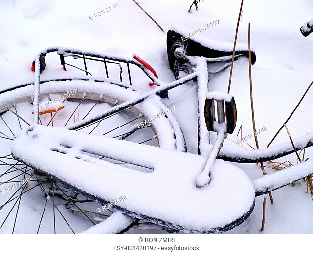 Details of bicycles in the snow