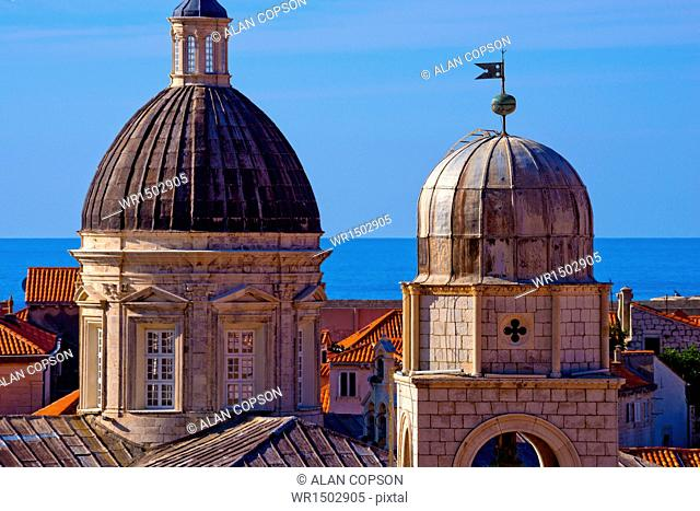 Cathedral of the Assumption of the Virgin Mary on left, Clock Tower right, Old Town (Stari Grad), UNESCO World Heritage Site, Dubrovnik, Dalmatia, Croatia