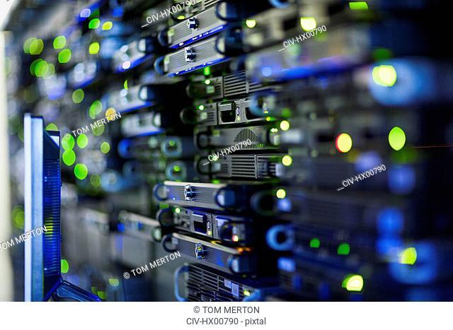 Close up server room rack panel